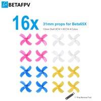 Oyuncaklar ve Hobi Ürünleri'ten Parçalar ve Aksesuarlar'de Mostato70 BETAFPV 16 adet 31mm 4 Blade sahne Tiny Whoop pervaneleri 1.0mm mil ile temizleme aracı Beta65X vb