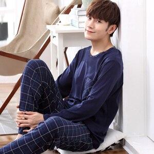 Image 1 - Yidanna long sleeve pijama cotton pajamas set for male plus size sleep clothing casual nightie sleepwear men pyjamas suit autumn