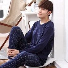 Пижама с длинным рукавом Yidanna, пижама из хлопка для мужчин, пижама большого размера, одежда для сна, Повседневная Ночная рубашка, пижама для мужчин, костюм на осень