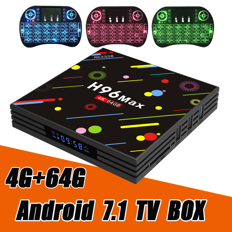 ТВ-приставка H96 Max H2 4 ГБ ОЗУ и 64 ГБ ПЗУ на Android 7.1 от RUIJIE, смарт ТВ смарт ТВ с четырехъядерным процессором RK3328 и разрешением 4K, медиаплеер c Wi-Fi 2,4 ...