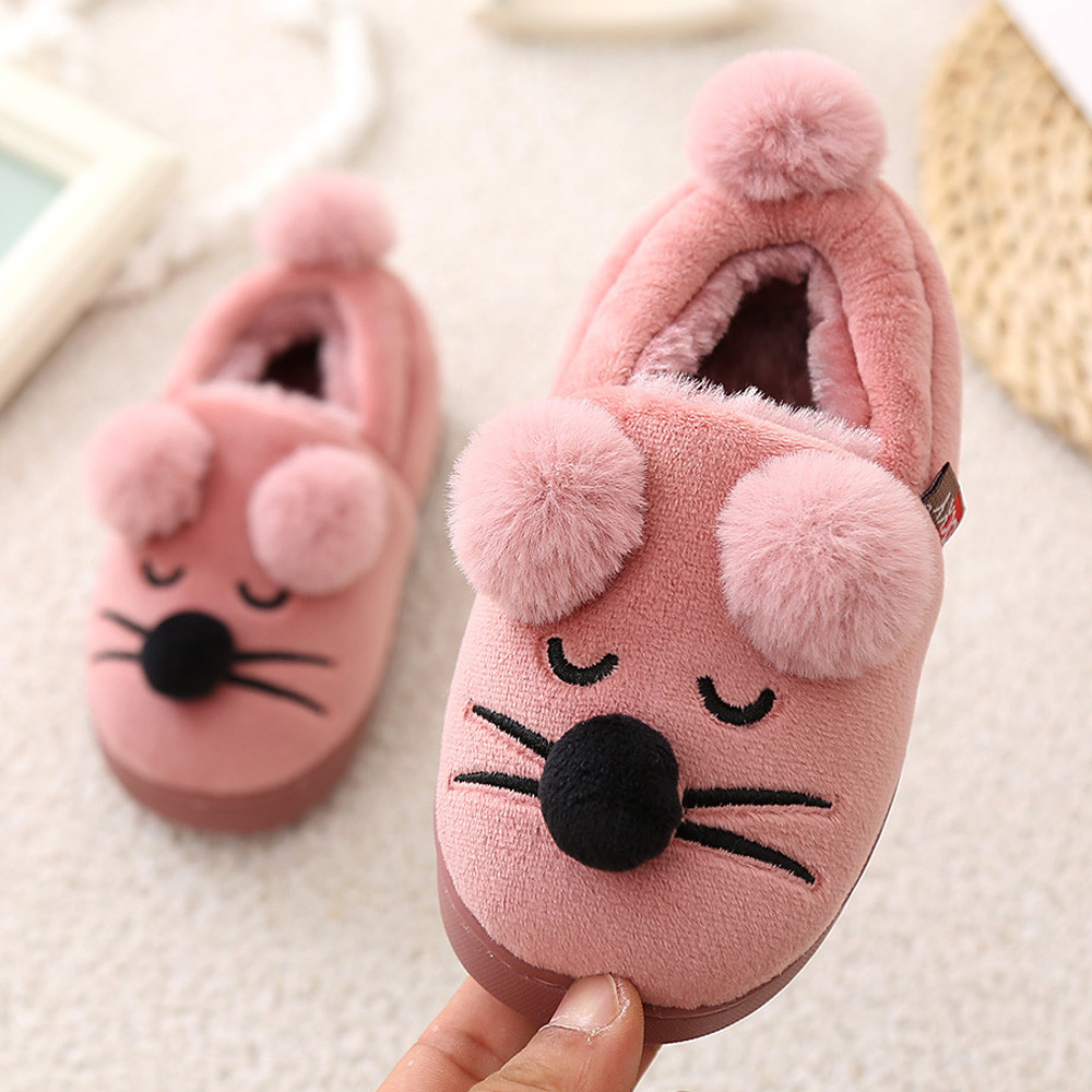 children footwear shoes for girls boys Booties sneakers newborns Cute Bow Plush Soft Sole Non-slip Warm Velvet Snow slippers