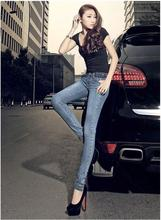 Fashion pure cotton elastic women jeans boyfriend bleached trousers sexy low waist zippers slim pencil cowboy denim pants D95