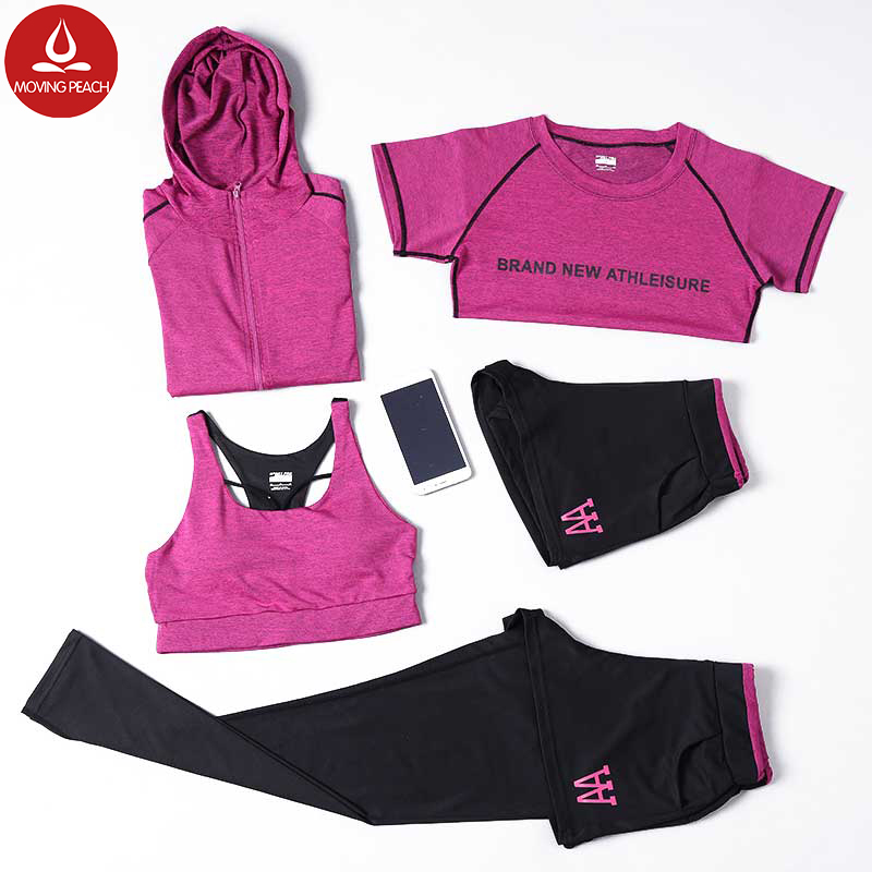 5pcs set Women Yoga Suits 4 size S-XL Sportswear Coat gym Tracksuits Sports Running fitness women set yoga clothing suit D 4 high quality fashion ribbon hair bow for baby girls sweet boutique rhinestone alligator chips pearl diy hair accessories