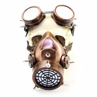 Red Copper Color Resin Retro Rock Gas Respirator Steampunk Mask Goggles Anime Halloween Party Cosplay Prop Gothic Accessories