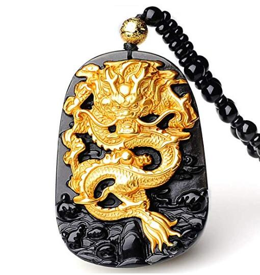 EASTCODE charmant 999 pur or incrusté obsidienne naturelle noir Jades Dragon pendentif collier
