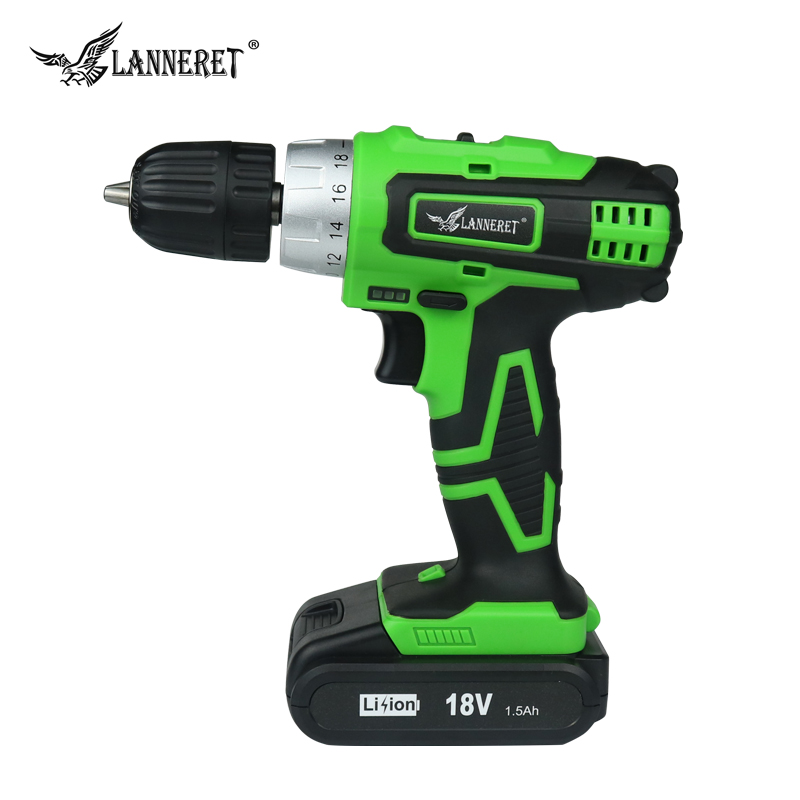 LANNERET CD18HL02 18V Lithium-ion battery 2 speed Cordless drill Electric Screwdriver Household Rechargeable Drill Tools 18v 4000mah replacement lithium ion battery electric screwdriver li ion battery for bosch power tools electric cordless drill
