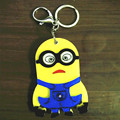 New Fashion Small Yellow Person Design Portable Makeup Mirror Key Chain Bag Key ring Car Key Rings Flash  Keychain Hot  Selling!