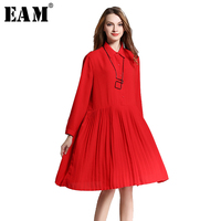 EAM 2017 New Autumn Lapel Long Sleeve Solid Color Black Red Chiffon Pleated Loose Dress