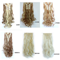 2016 New Natural Light Blonde Bulk Long Fluffy Curly Hairpieces Hair Extension 12 Clip-in Hair Extension High Quality