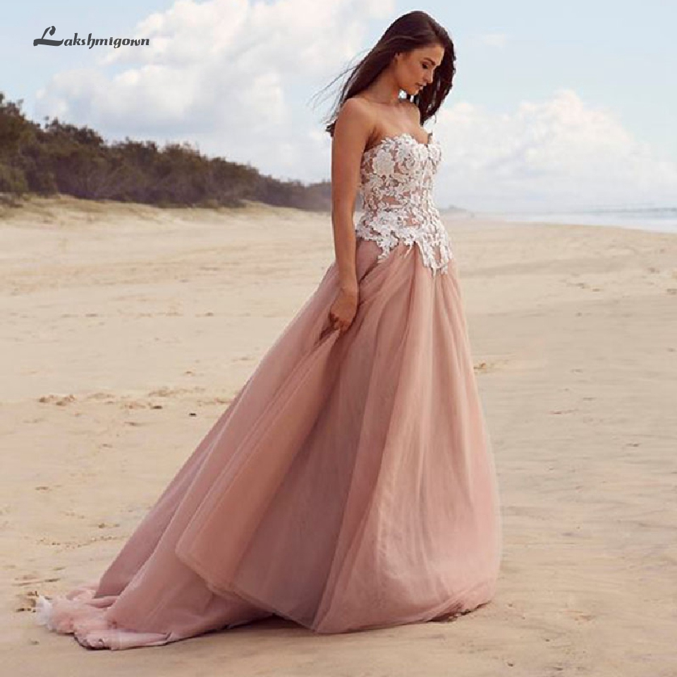 Lakshmigown A Line Wedding Dress Beach 2019 New Mariage Bridal Dresses Gelinlik Sexy Boho Long Wedding Party Gown Off Shoulder