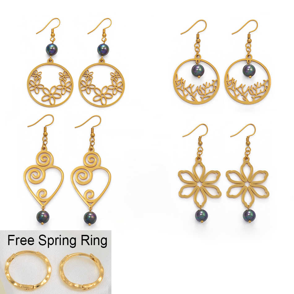 Anniyo Shell Pearl Earrings for Women Girls With Free Spring-Ring Guam Hawaii Flower Jewelry New Earing Micronesia Chuuk #099221