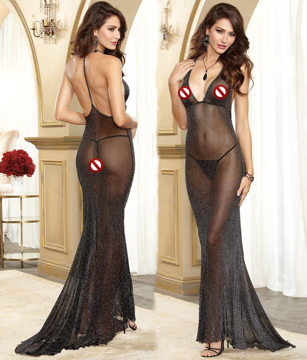158 New arrival Sexy lingerie Women black flash mesh backless gauze transparent perspective dress long nightwear costumes
