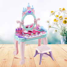 Con una silla, 1 Juego de juguetes creativos interesantes, tocador de maquillaje de belleza, tocador colorido de princesa, juguete de juego de rol para niñas