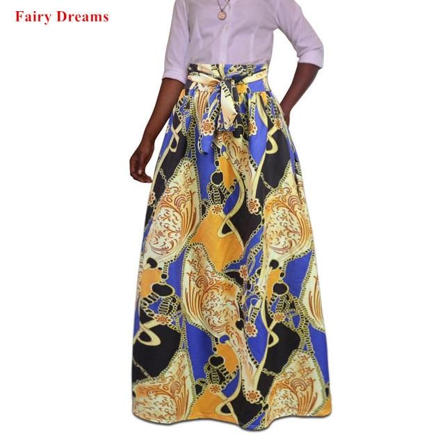 511c65f5c61 Plus Size Africa Clothes 5XL Indonesia Ankara Indian African Pattern Print  Women Summer Autumn Skirt Fashion Bandage Long Skirts