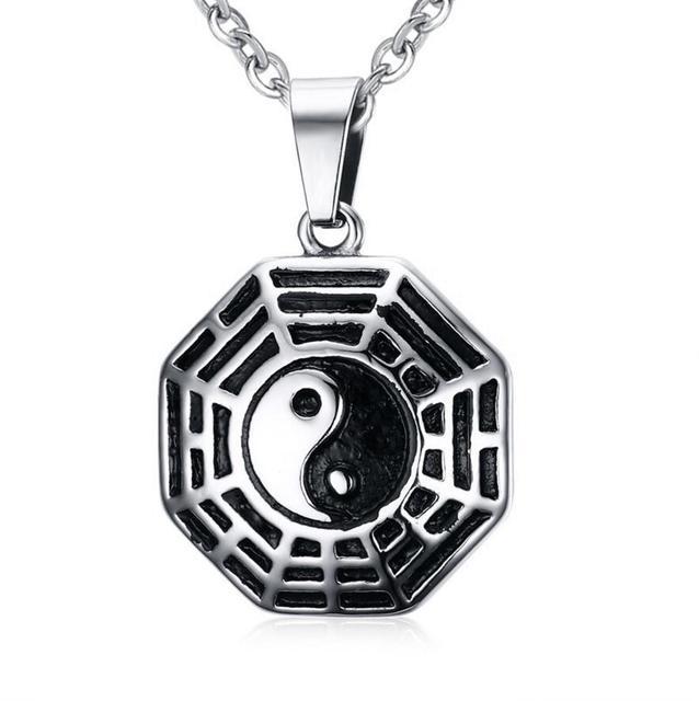 Taiji Bagua Chinese Taoism Eight Symbols Pendant Necklace Yin And
