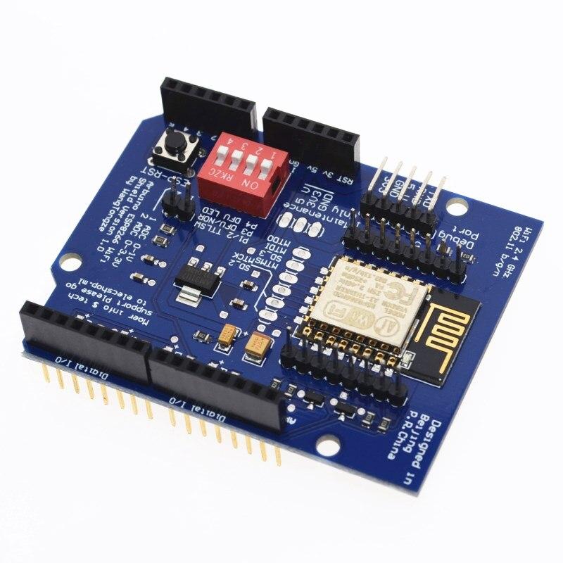 Placa de Expansão Esp-12e para Arduino Sever Serial Wifi Shilled Uno r3 Esp8266 Web