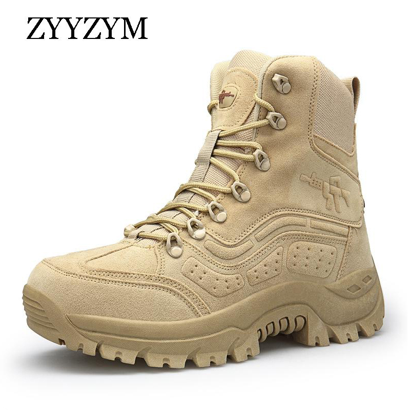 ZYYZYM Military Leather Boots Men Autumn Winter Man Desert Boots Special Force Tactical Combat Outdoor High