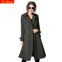 trench coat for women 2017 duster coats manteau femme grande taille spring winter cotton blend army green beige 1ong 2018 new VA