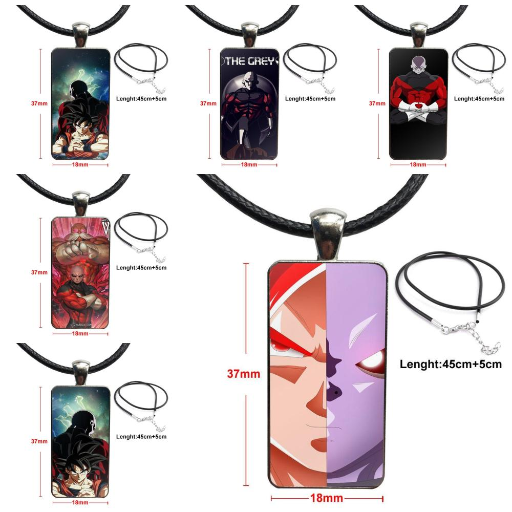 For Unisex Glass Cabochon Choker Pendant Rectangle Necklace Bronze Color Jewelry Japanese Anime