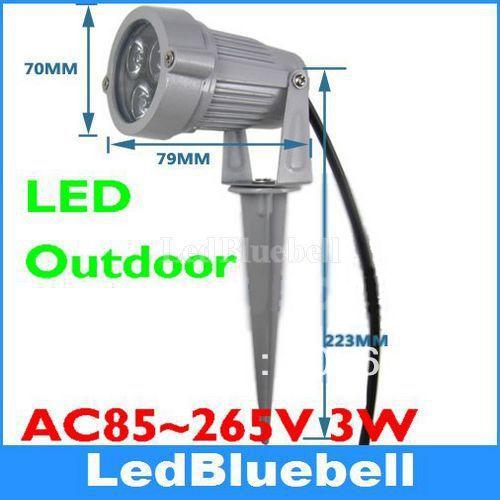 LED Flood Light 3w høj effekt udendørs haven spot lampe AC85 ~ 265V