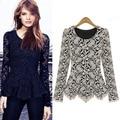 Элегантный кружева блузка рубашки дамы с длинным рукавом складки и хвосты хем slim fit плюс размер 3XL женщины топы FS0161