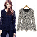 Elegant lace blouse shirts ladies long sleeve folds and tails hem slim fit plus size 3XL women tops FS0161