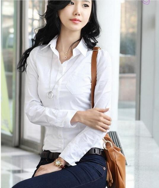 Women S Long Sleeve Office Tops Formal Work Shirts Lady White Business Blouses Fashion Shirt