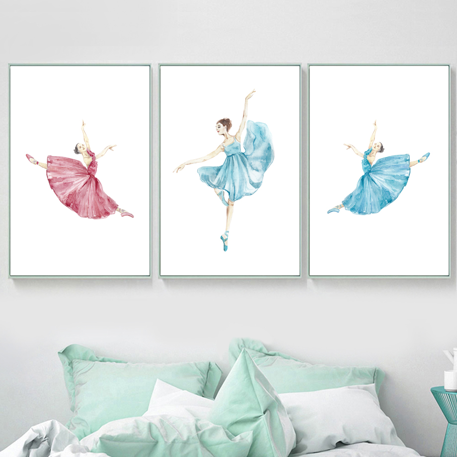 Watercolor Ballet Dancer Nordic Posters And Prints Wall Art Canvas Painting Pictures For Living Room Girl Home Decor