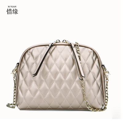 XIYUAN BRAND women high quality genuine leather gold bag luxury top handle handbags shell shoulder crossbody bags bolsa feminina xiyuan brand ladies beautiful and high grade imports pu leather national floral embroidery shoulder crossbody bags for women