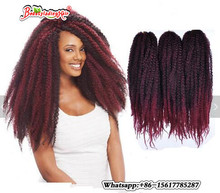 Pretty Braid Afro Kinky Twist Braid Curly freetress Synthetic Hair Bulk Extensions Marley Braid Synthetic burgundy Braiding Hair