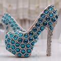 Красивые золушка хрустальные туфли невесты горный хрусталь свадебные туфли синий производительности обувь розовый ну вечеринку выпускного вечера туфли на каблуках