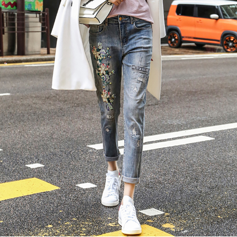 2018 Women Ripped Hole   Jeans   Handmade Embroidery Harem Denim Pants Female Ankle-Length Loose Pencil Trousers High Street Fashion