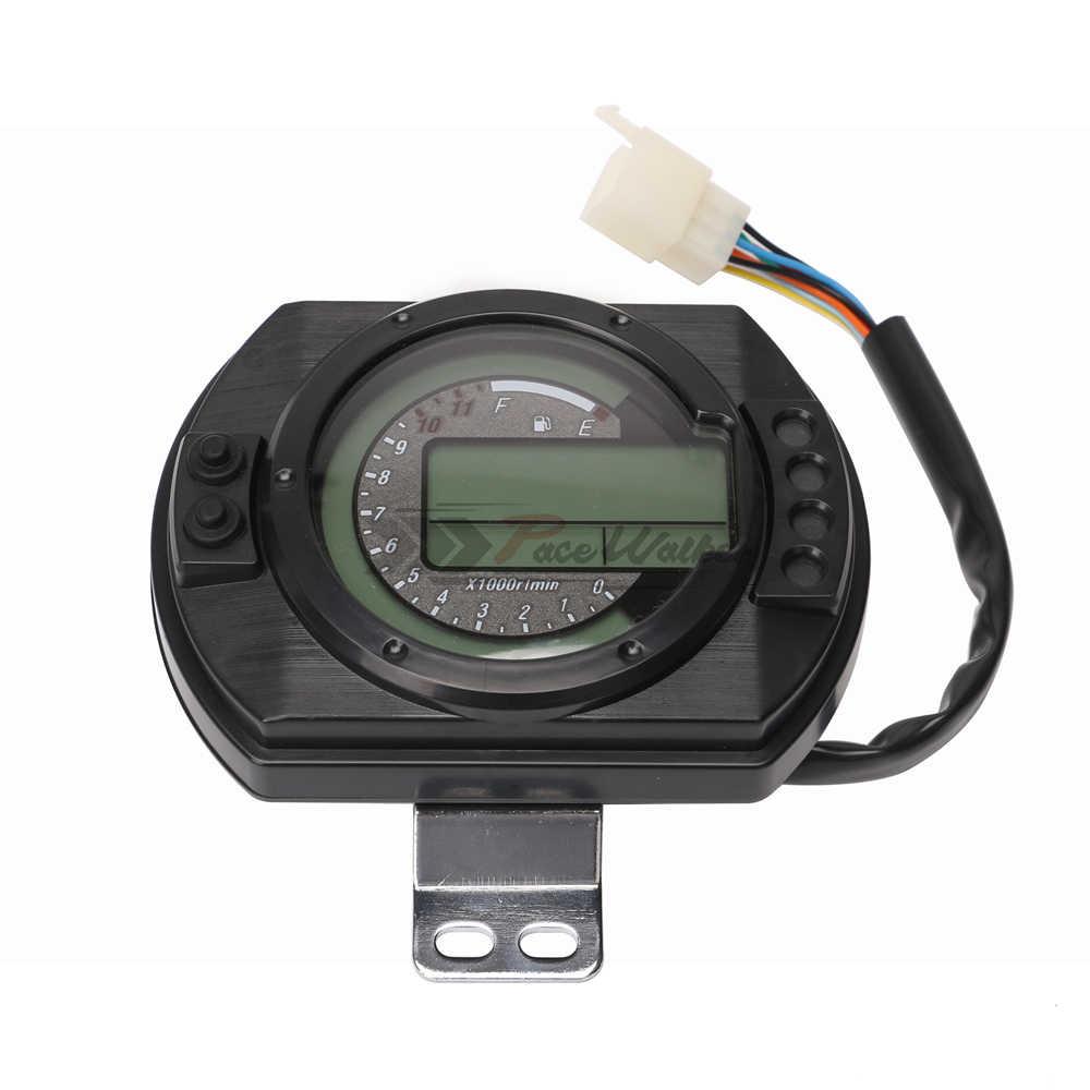 12500 Rpm Motorcycle Speedometer Lcd Mph Digital Odometer