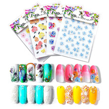 31 Styles Flower Nail Art Stickers 3D Colorful Sticker Design With Butterfly Leaves of NHB