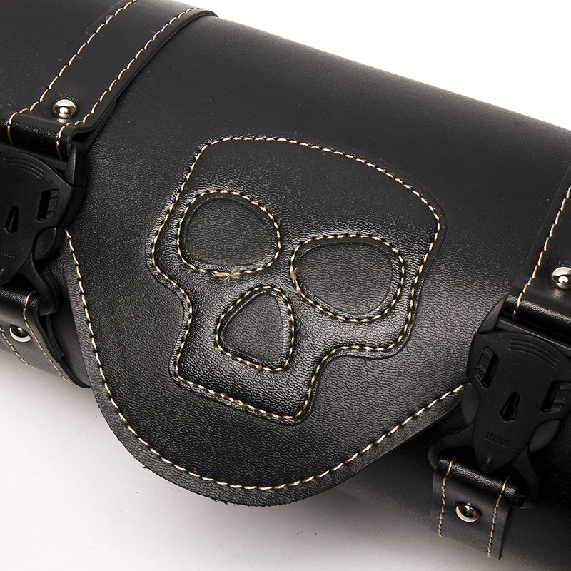Triclicks Motorcycle Side Saddlebag PU Leather Round Barrel Tool Bag Skull Roll Saddle Bags Universal New Luggage Bag For Harley