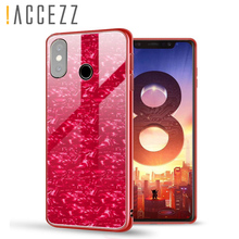 !ACCEZZ Luxury Tempered Glass Case Cover For Xiaomi 8 MIX2 2S Anti-knock Shockproof Shell Soft TPU Fashion Phone Capa Fundas