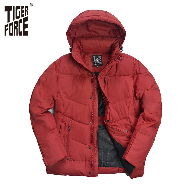 TIGER FORCE Hot Sale Men Down Jacket 70% White Duck Down Winter - Ropa de hombre