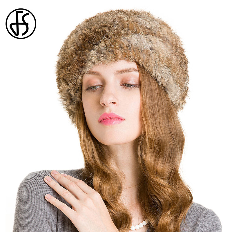 FS 100% Rabbit Fur Hat For Women Winter Black Brown Pom Poms Beanies Warm Top Knitted Hats Bonnet Femme Gorra Mujer Invierno