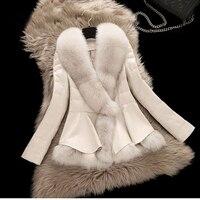 2016 New Winter Sheepskin Genuine Leather Down Coat Female Short Design Clothing Large Fox Fur Collar