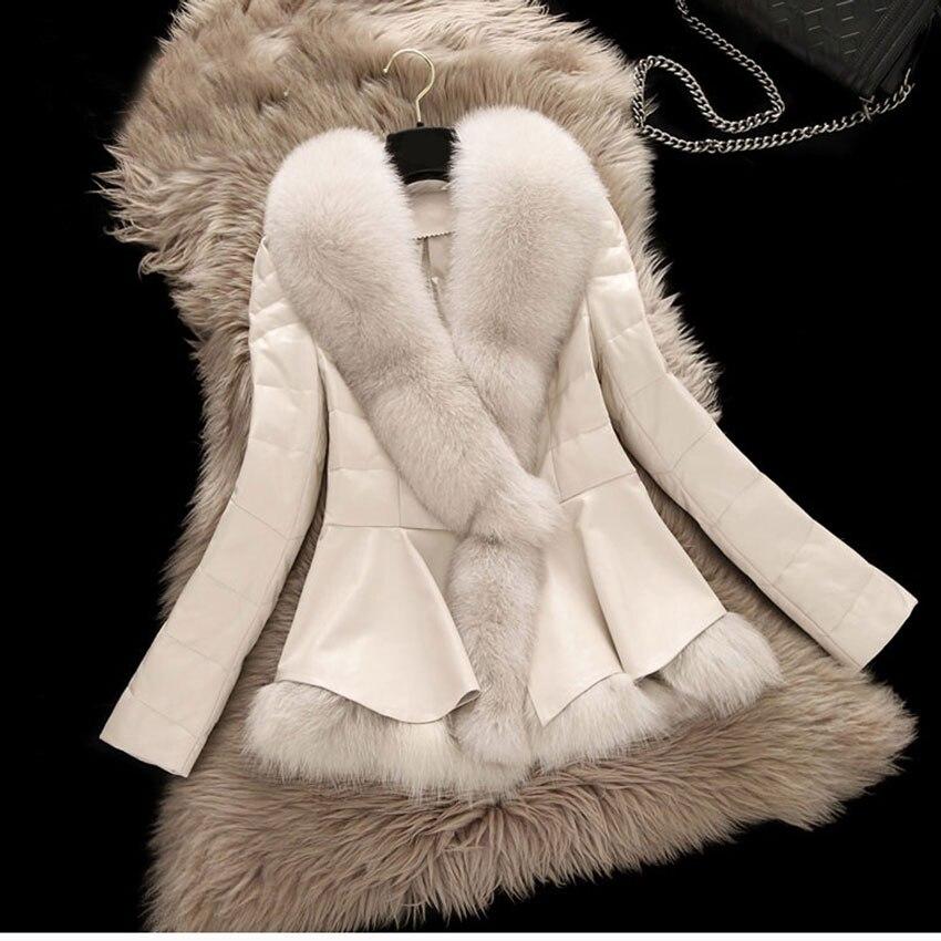 2017 Novo Inverno Parka Casaco de Pele Verdadeira Raposa W Estilo Curto Roupas Grande Gola de pele de Carneiro Couro Genuíno Para Baixo Casaco Outerwear