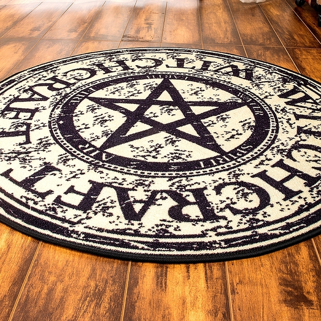 Cigi Creative European Round Table Bedroom Carpet Living Room Computer Rugs Magic Pentagram Design Blanket