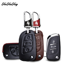 цена на KUKAKEY Genuine Leather Key Fob Cover Case For Citroen C2 C3 C4 C5 C4L DS3 DS4 DS5 DS6 Car Remote Flip Key Shell Protector