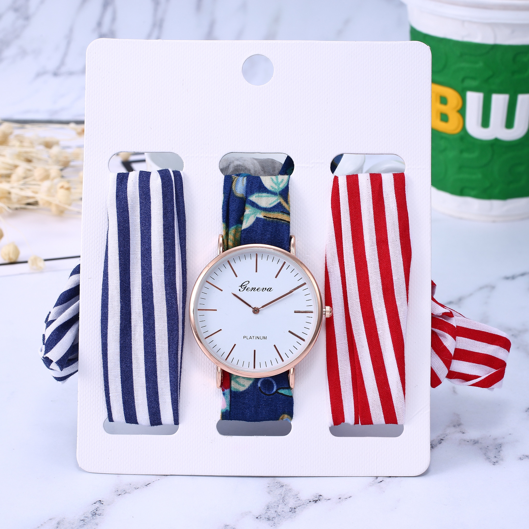 New Wrist Watches Sets Lady Holiday Dress Cotton Ribbon Watch Women Gold Silver Clock Watch For Women, 3pcs Ribbon Reloj Mujer