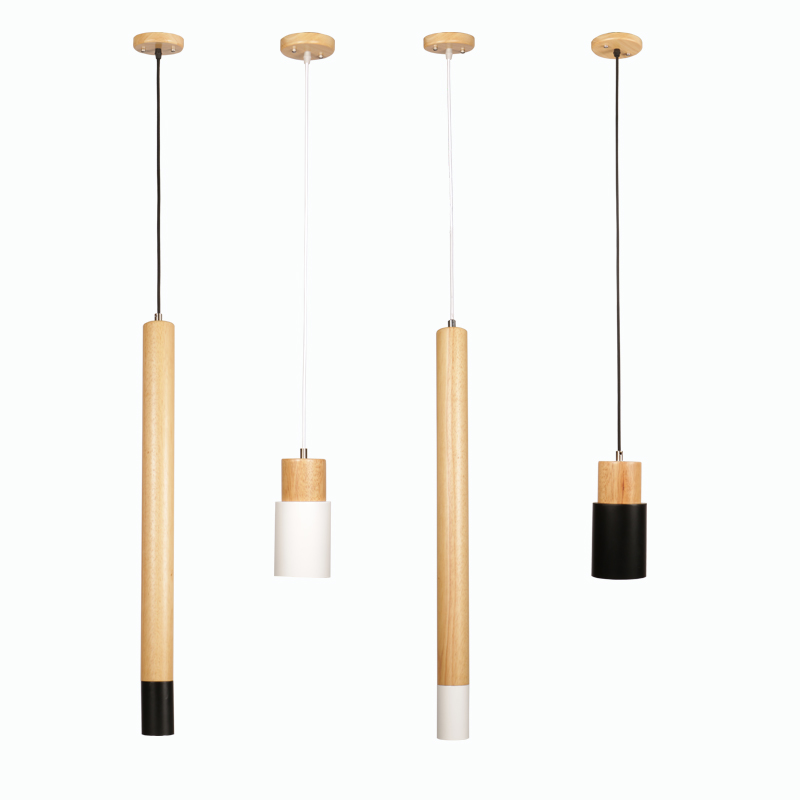 LukLoy Long Wood Tube Pendant Lamp Kitchen Island Dining Living Room Bedside Bar Counter Down Cylinder Pipe Down Spot Light