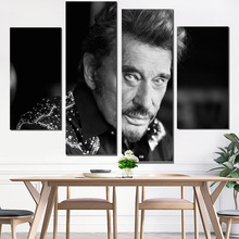 canvas painting johnny hallyday poster & calligraphy photo print wall pictures for living room