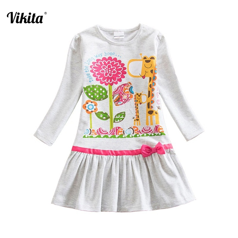 VIKITA New Arrival Girl Dresses Baby Girls Long Sleeve Printed Cartoon Dress Infantil Vestidos Children Clothing for Kids LD6661 vikita brand new girl dresses 100% cotton girls butterfly cartoon dress toddlers summer short sleeve patchwork dresses sh4554