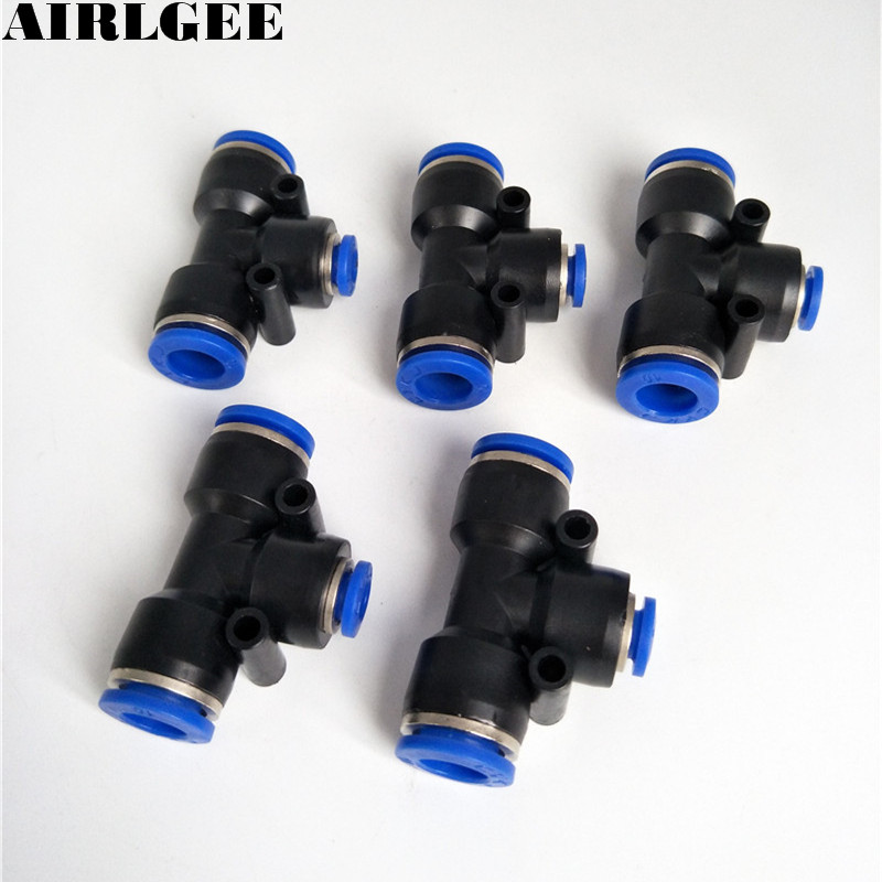 5 Pcs Pneumatic 3 Ways 10mm to 6mm Air Line Coupler T Style Tubing Push in Quick Fittings violet ugrat ways to heaven colonization of mars i
