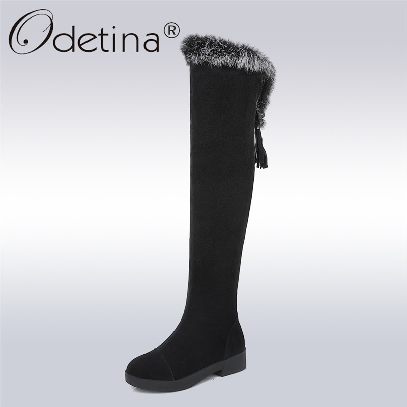 Odetina 2017 Fashion Rabbit Fur Snow Boots Women Over The Knee Thigh High Boots Flat Platform Winter Keep Warm Shoes Big Size 43
