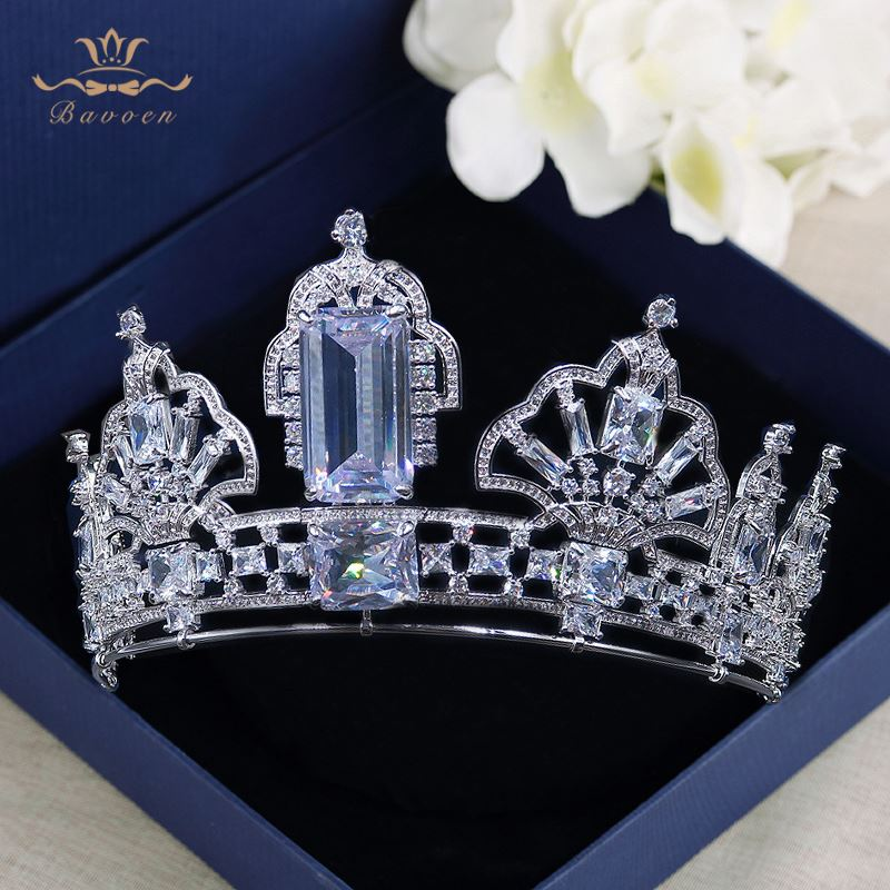 все цены на European Oversize Sparkling Silver Zircon Tiaras Crowns For Brides with Clear Crystal Hairbands Wedding Hair Accessories онлайн