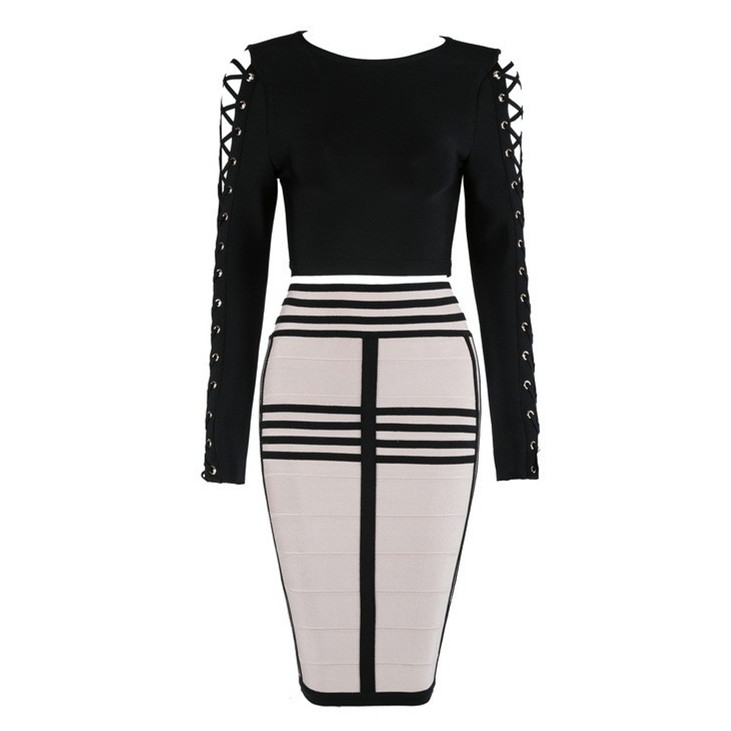 Top Quality HL Celebrity 2 Pieces Set Black Long Sleeve Knee Length Rayon Bandage Dress Cocktail